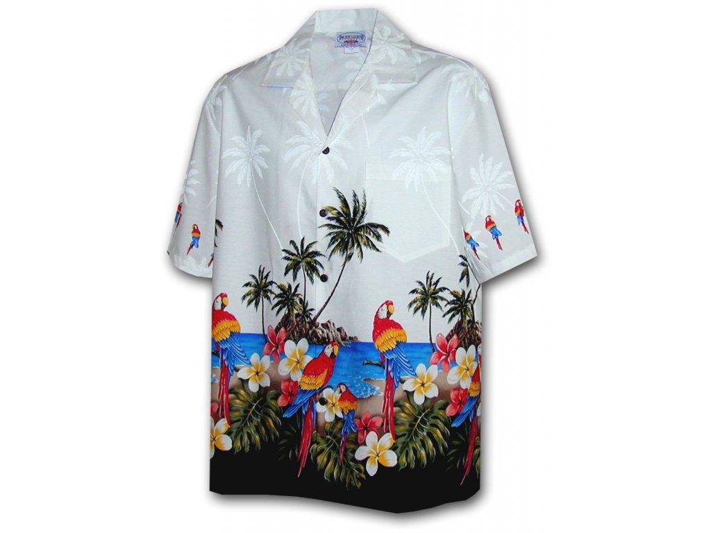 Bílá havajská košile s motivem palem a papoušků L