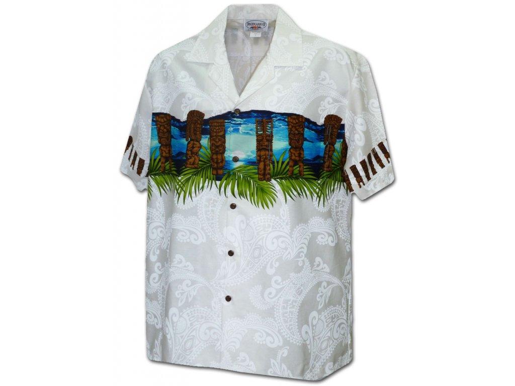 Bílá havajská košile s motivem soch a moře XL