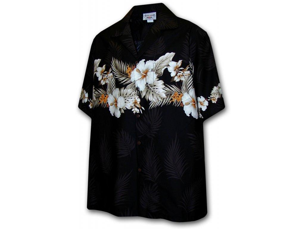 Černá havajská košile s motivem květů ibišku XL