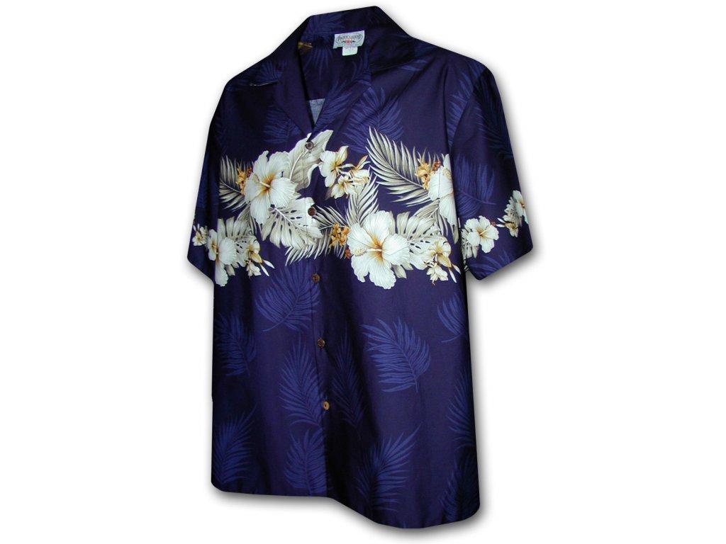 Modrá havajská košile s motivem květů ibišku 2XL