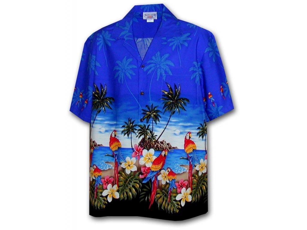 Modrá havajská košile s motivem palem a papoušků XL
