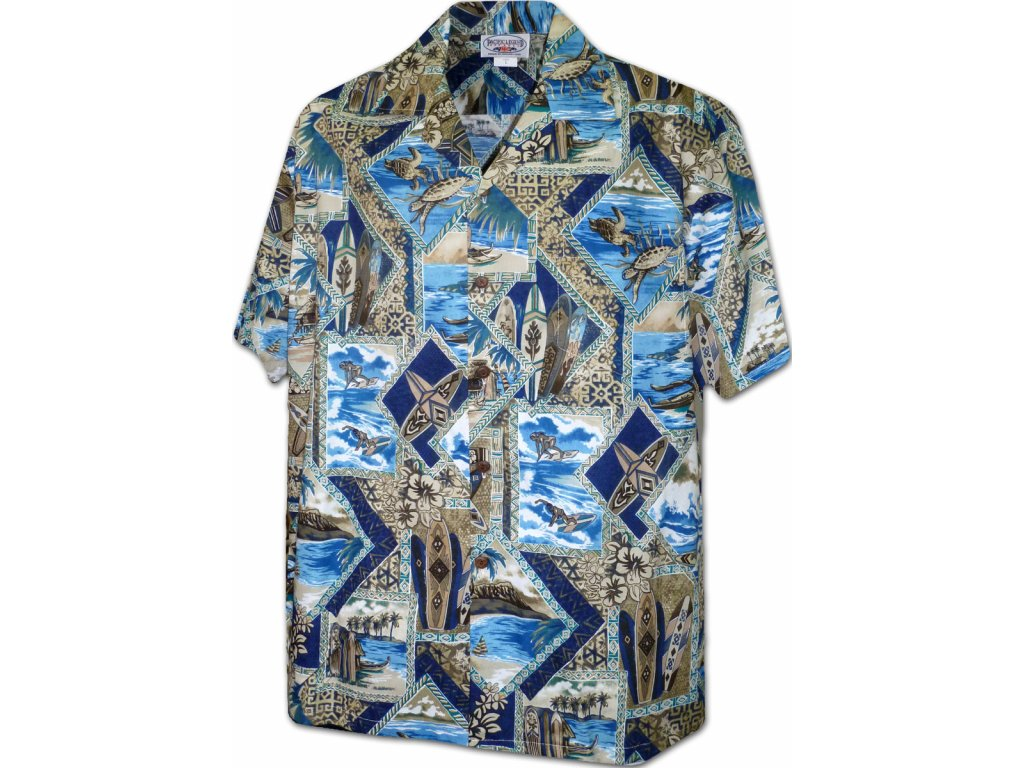 Modrá havajská košile s motivem surfování XL