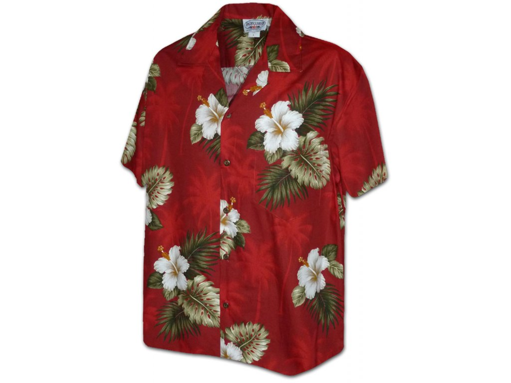 Červená havajská košile s motivem ibišku 2XL
