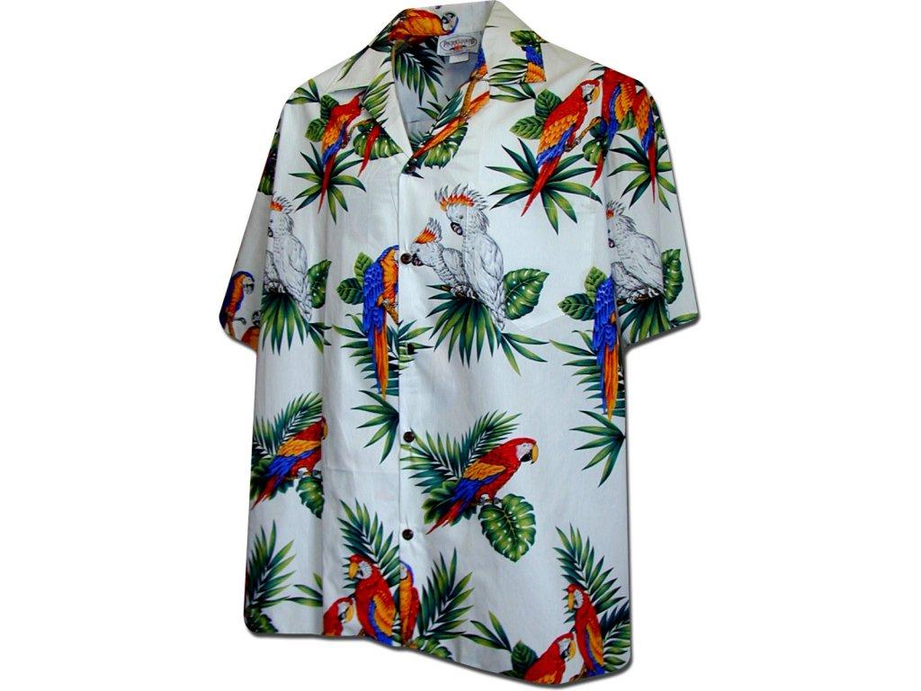 Bílá havajská košile s motivem papoušků XL