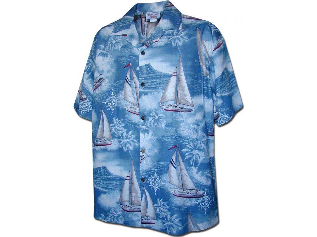 Světle modrá havajská košile s motivem plachetnic 2XL
