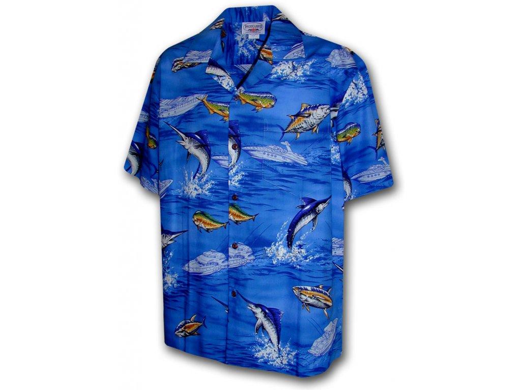 Modrá havajská košile s motivem ryb XL