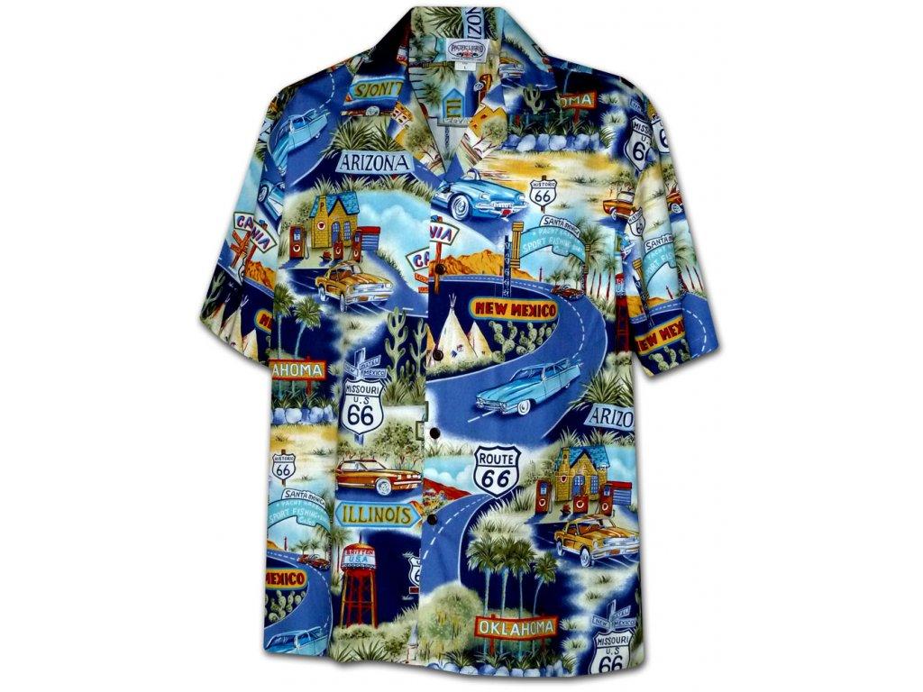 Modrá havajská košile s motivem Route 66 XL