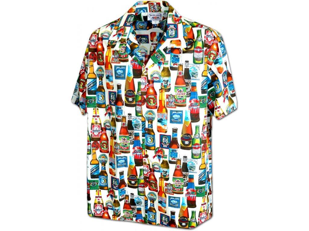 Bílá havajská košile s motivem pivních lahví L