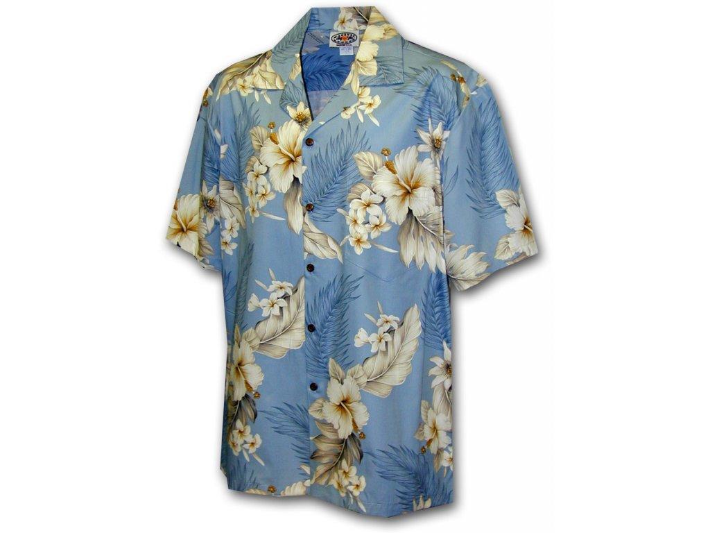 Světle modrá havajská košile s motivem ibišku XL