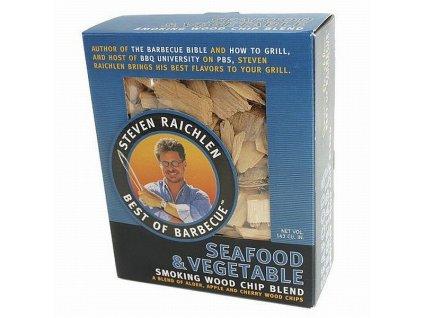 Směs dřevěných lupínků k uzení ryb a zeleniny
