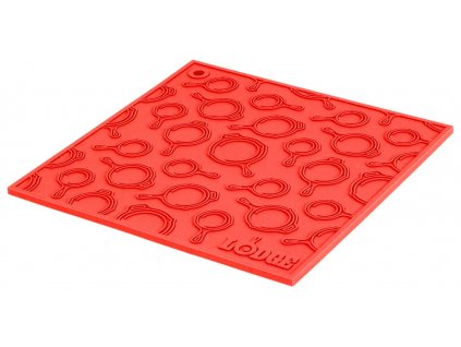 Červená silikonová podložka s reliéfem pod litinový hrnec/pánev Lodge