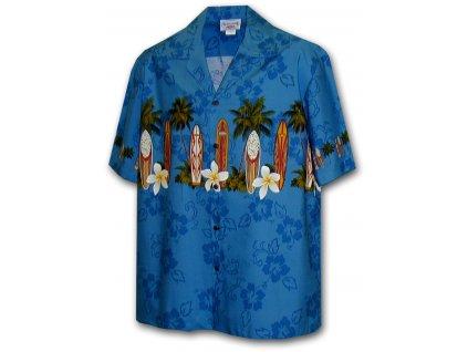 Modrá havajská košile s motivem palem a surfování L