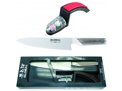 Sada japonského šéfkuchařského nože G-2 a ostřiče nožů minoSHARP 220/BR