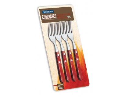 Steaková vidlička Jumbo - červené dřevo, 4 ks