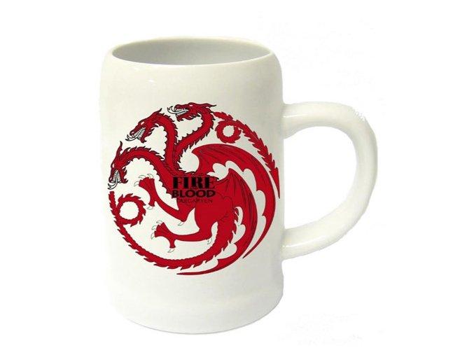 Keramický Korbel Hra o trůny - Targaryen bílý
