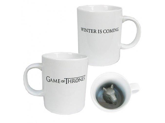 game of thrones hra o truny 3d keramicky hrnek zlovlk