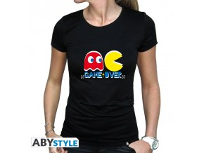 pac man damske tricko game over woman ss black