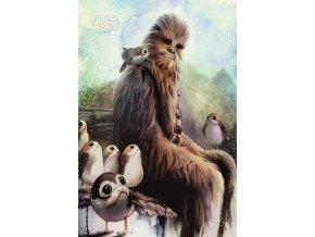 poster plakat Chewbacca & Porgs star wars