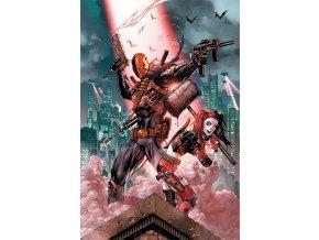 dc comics batman plakat daethstroke vs harley quinn