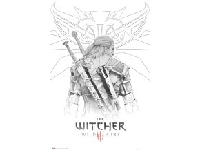 poster plakat THE WITCHER zaklinač Geralt Sketch
