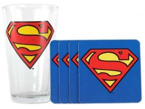 Sada tácků a sklenice Superman