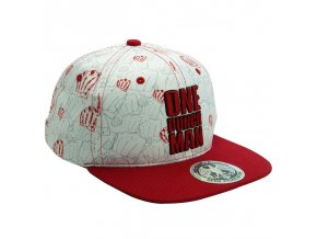 one punch man snapback cap beige red punches