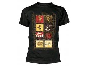 Pánské tričko Hra o trůny - Erby, černé