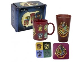 Dárkový set Harry Potter - Znaky Bradavic - Hrnek, sklenice, tácky