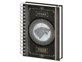 Kroužkový blok A5 Hra o trůny - Stark