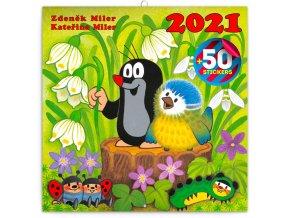 poznamkovy kalendar krtecek 2021 s 50 samolepkami 30 x 30 cm 601001 17