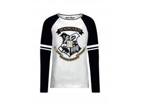 harry potter damske tricko s dlouhym rukavem hogwarts bradavice trpitive logo