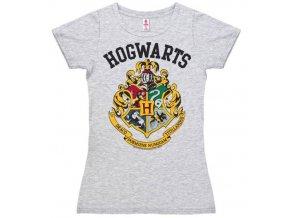Dámské tričko Harry Potter - Bradavice, šedé