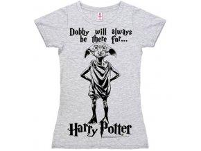 Dámské tričko Harry Potter - Dobby, šedé