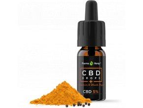 CBD olej Kurkumín a čierne korenie Pharma Hemp 3