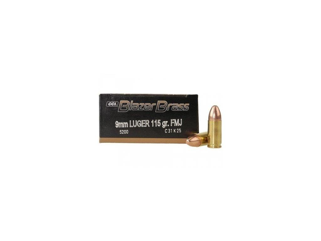 naboj kulovy cci blazer brass 9mm luger 115gr fmj