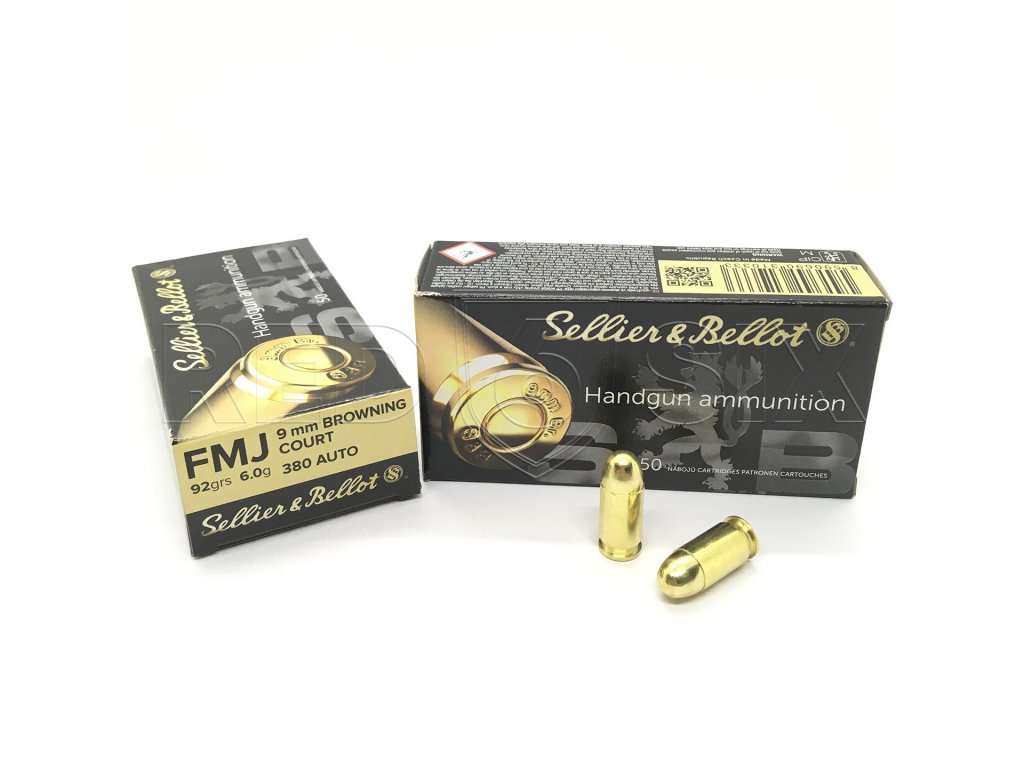 náboj pistolový S&B 9mm Br (.380 ACP), 92grs/6g, FMJ