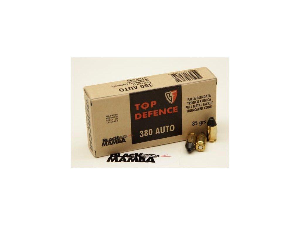 náboj pistolový Fiocchi 9mmBr(.380ACP), 85grs, FMJ-TC, Black Mamba