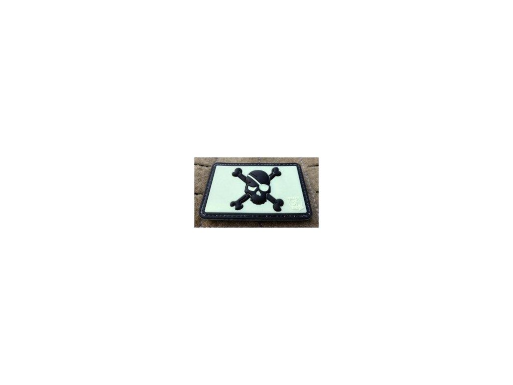JTG.PSP.bkgid JTG Pirate Skull Patch blackghost gid glow in the dark JTG 3D Rubber patch