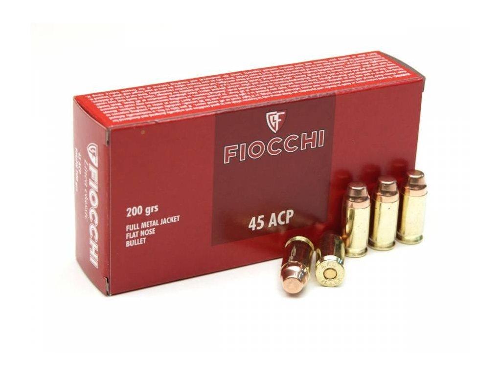 náboj pistolový Fiocchi .45ACP, 200gr/12,96g, FMJ-FN, střižná hrana