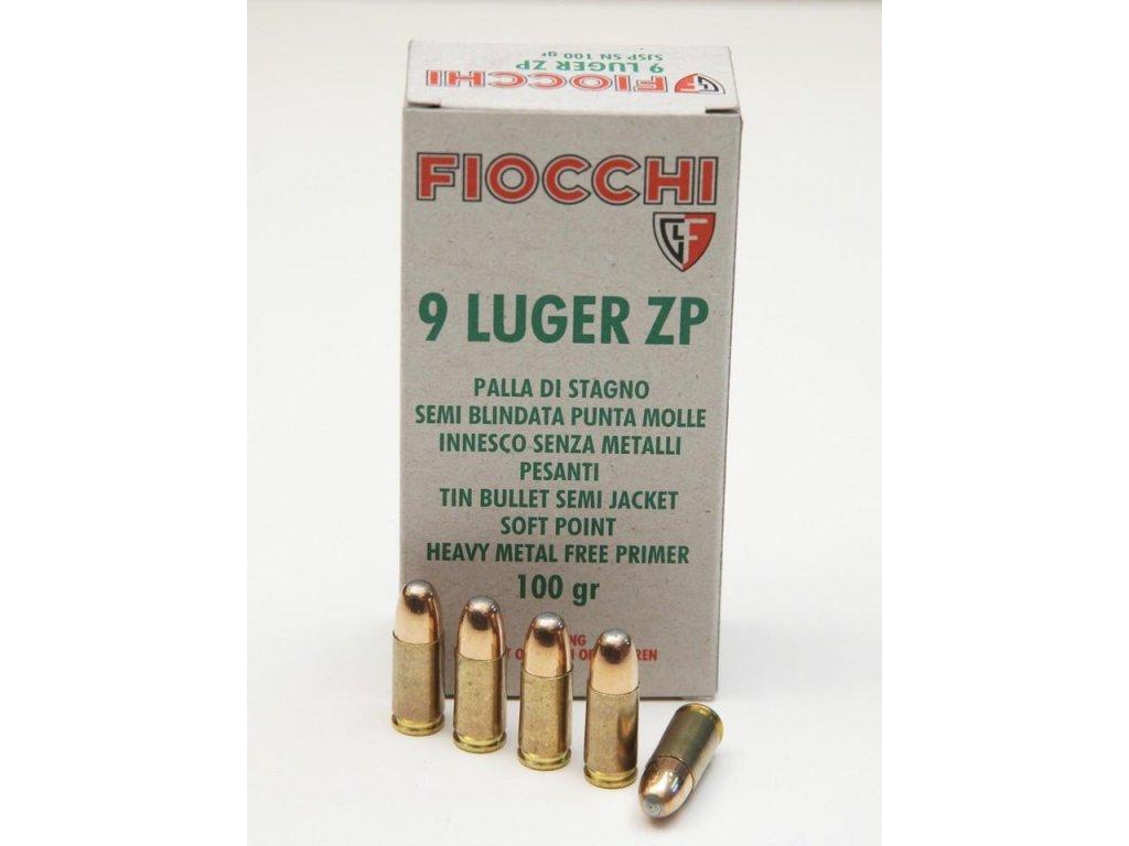 náboj pistolový Fiocchi 9mm Luger, 100gr/6,5g SN-SJSP-N (poloplášť,nontox,cínové jádro)