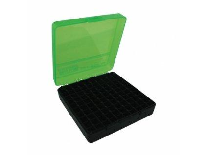 krabicka na naboje mtm cases 100ks pistolovych 9mm zeleno cerna