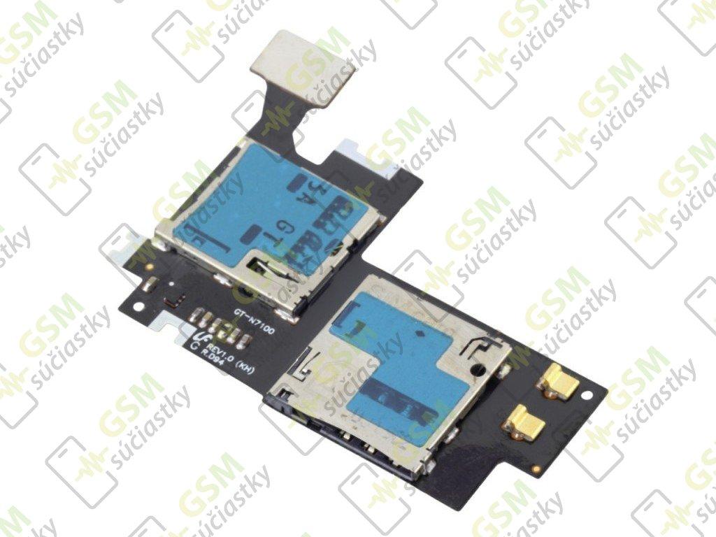 Flex kábel SIM karty a pamäťovej karty SD Samsung N7100 Galaxy Note 2