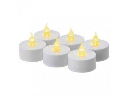LED dekorace – 6× čajová svíčka bílá, 6× CR2032