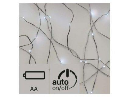 LED vánoční nano řetěz stříbrný, 0,9m, 2×AA, studená b.,čas.