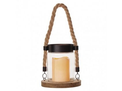 LED dekorace – lucerna sklo a dřevo, 3× AAA, vintage