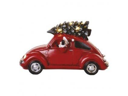 LED červené auto se Santou, 12,5 cm, 3x AA, vnitřní, teplá bílá