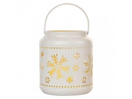 LED dekorace – lucerna s vločkami kovová bílá, 14 cm, 3x AAA, vnitřní, vintage