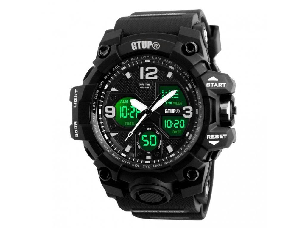 panske sportovni odolne vodotesne hodinky gtup 1050 anti shock cerne