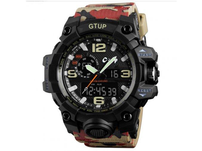 panske sportovni odolne vodotesne hodinky gtup 1050 anti shock khaki