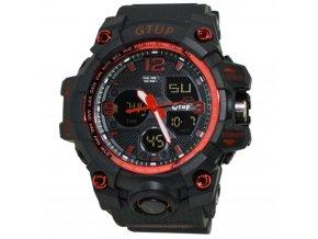 panske sportovni odolne vodotesne hodinky gtup 1050 anti shock cervene
